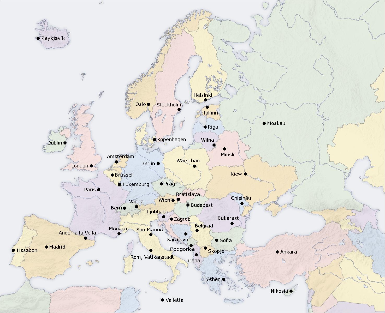 Europakarte flüsse gebirge städte hauptstädte