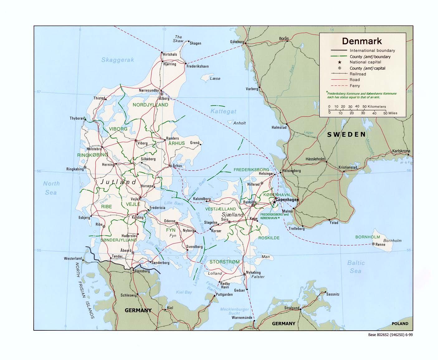 Dänemark Karte, Landkarte