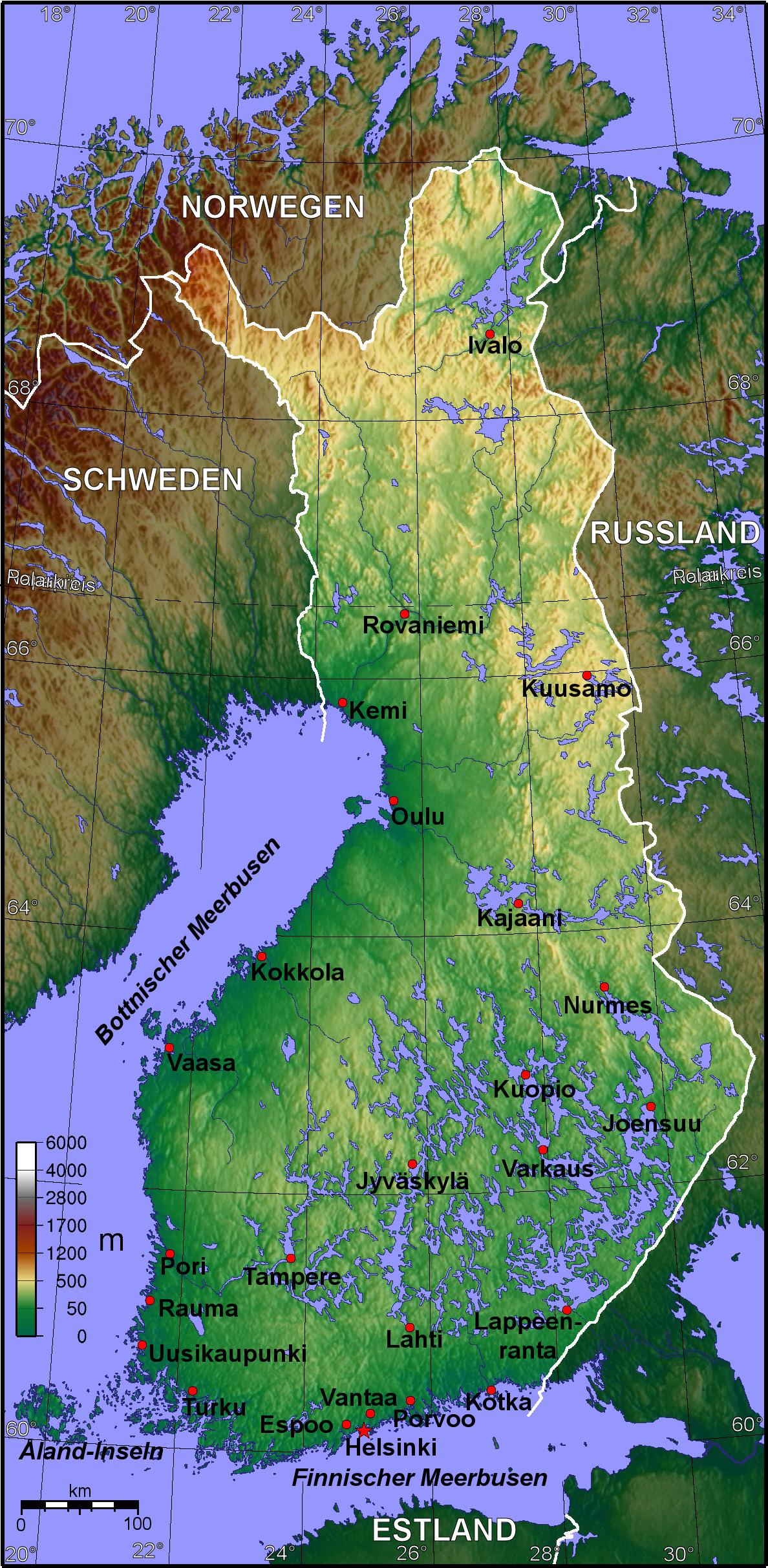 Finnland Karte, Landkarte