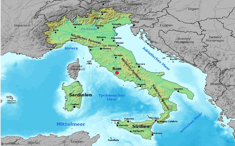 Italien Karte, Landkarte