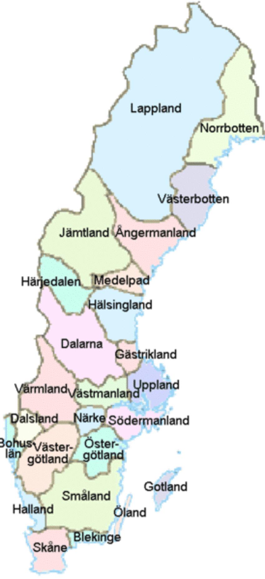 Die Detaillierte Karte Von Schweden Mit Regionen Oder Staaten Und