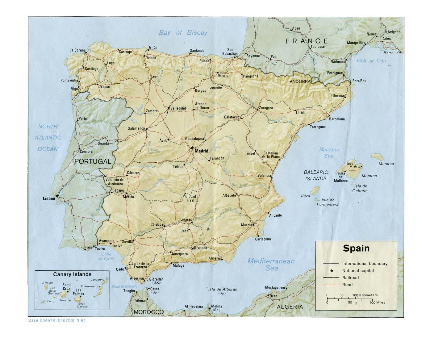 Spanien Städte Karte