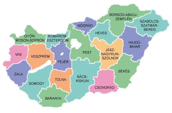 Ungarn Karte