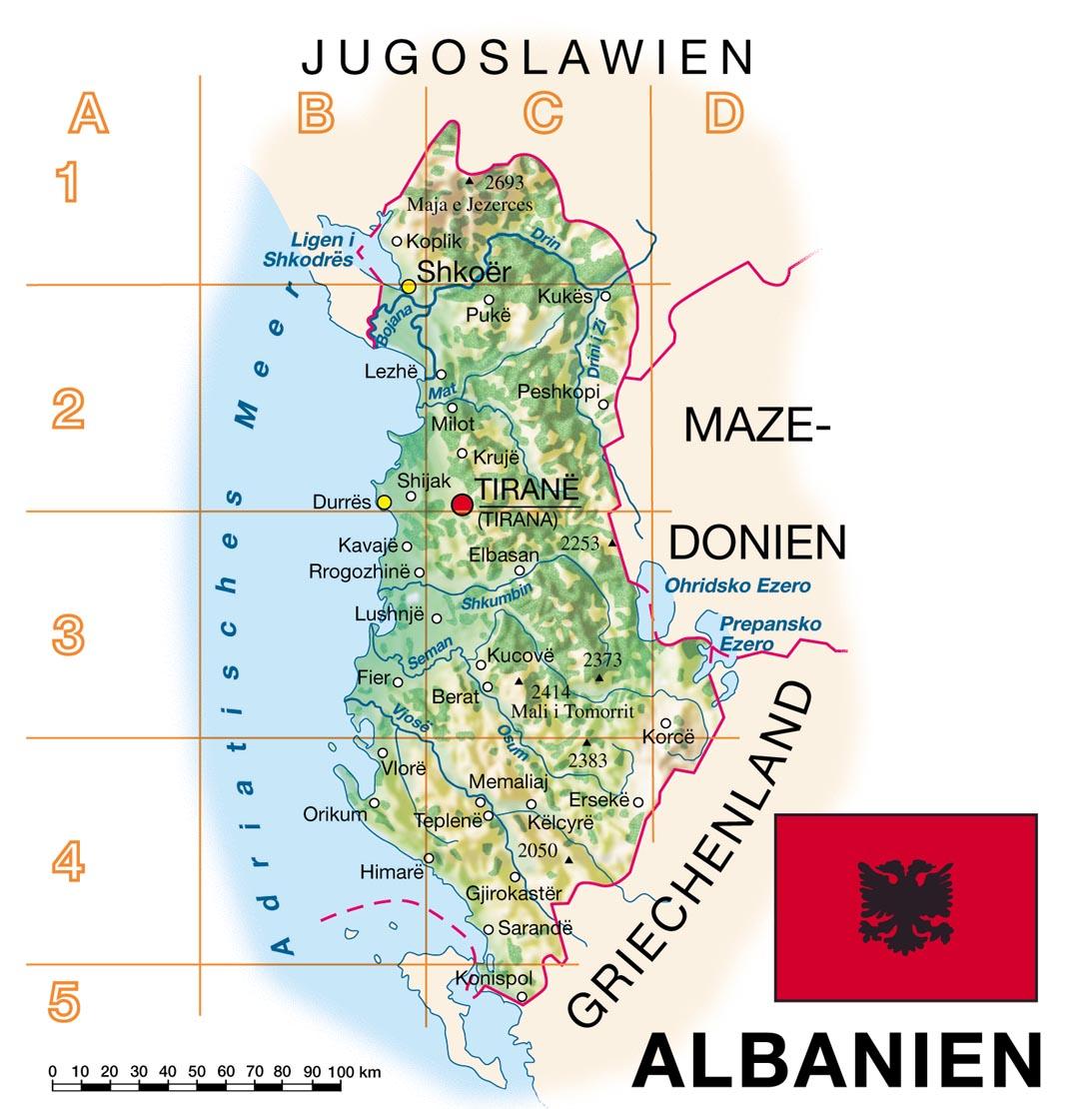 Albanien Karte, Landkarte politisch, Europa