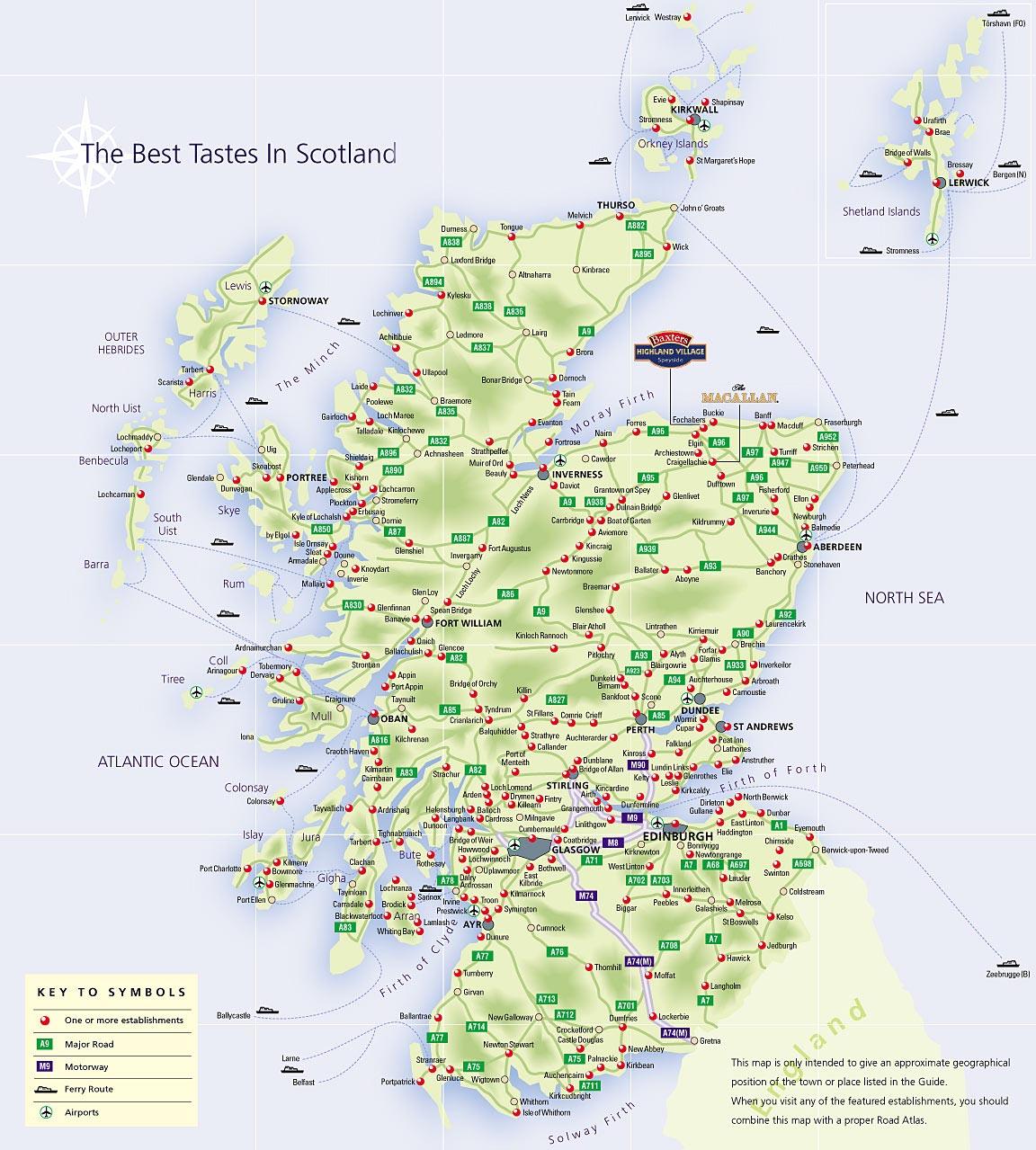 Schottland Karte, Landkarte